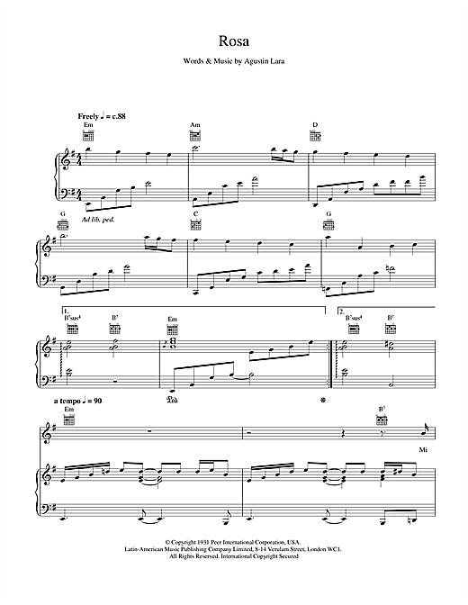 Placido Domingo Rosa sheet music notes and chords