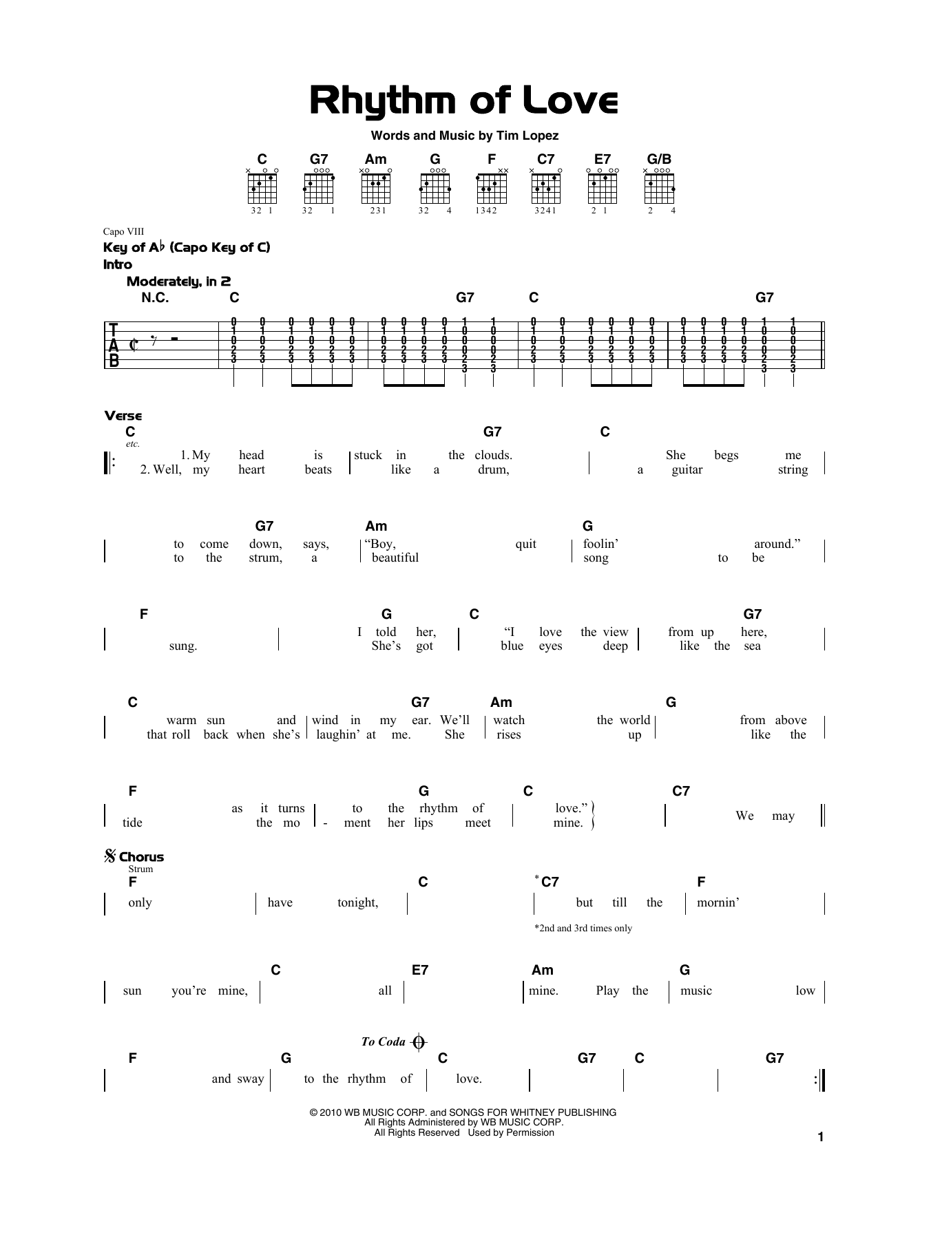 Plain White Ts Rhythm Of Love sheet music notes and chords. Download Printable PDF.