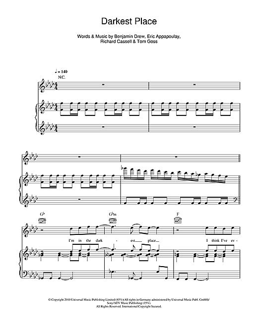 Plan B Darkest Place sheet music notes and chords. Download Printable PDF.