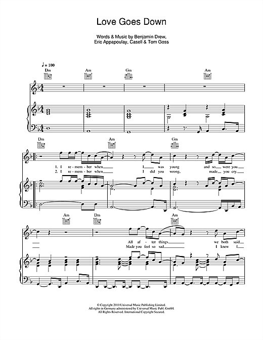 Plan B Love Goes Down sheet music notes and chords