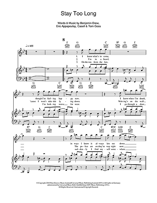 Plan B Stay Too Long sheet music notes and chords. Download Printable PDF.