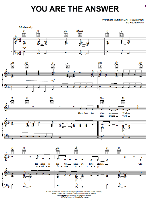 Point Of Grace You Are The Answer sheet music notes and chords. Download Printable PDF.