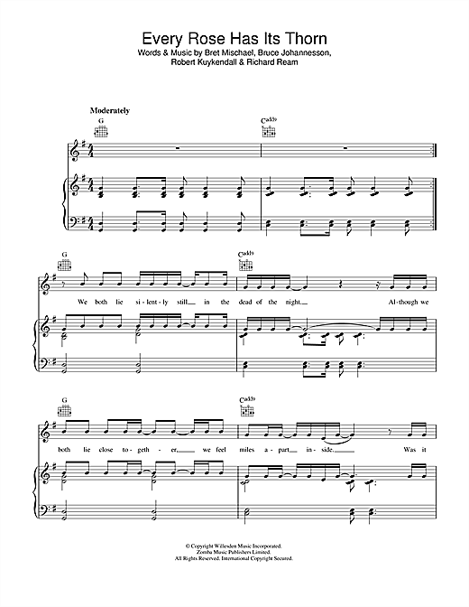 Poison Every Rose Has Its Thorn sheet music notes and chords. Download Printable PDF.