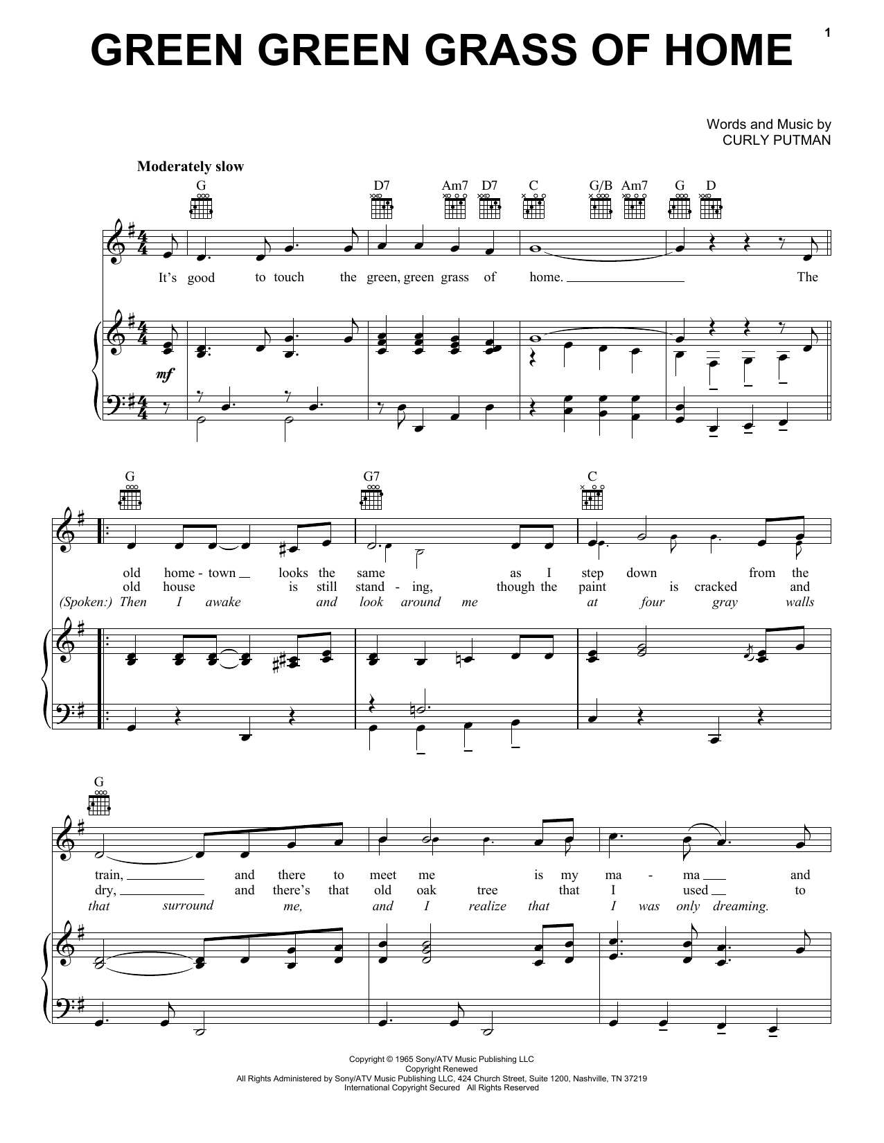 Porter Wagoner Green Green Grass Of Home sheet music notes and chords