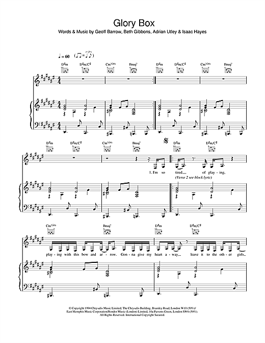 Portishead Glory Box sheet music notes and chords