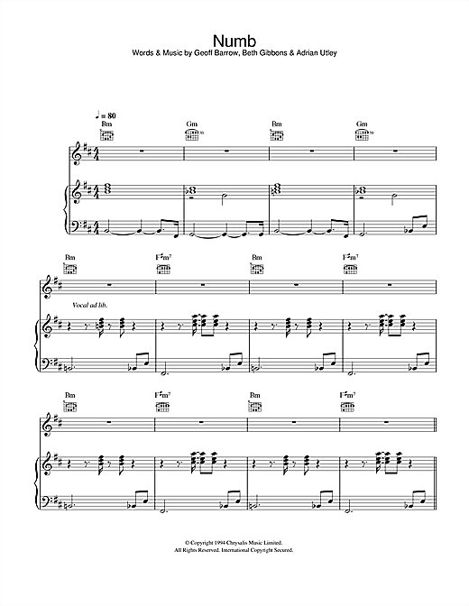 Portishead Numb sheet music notes and chords