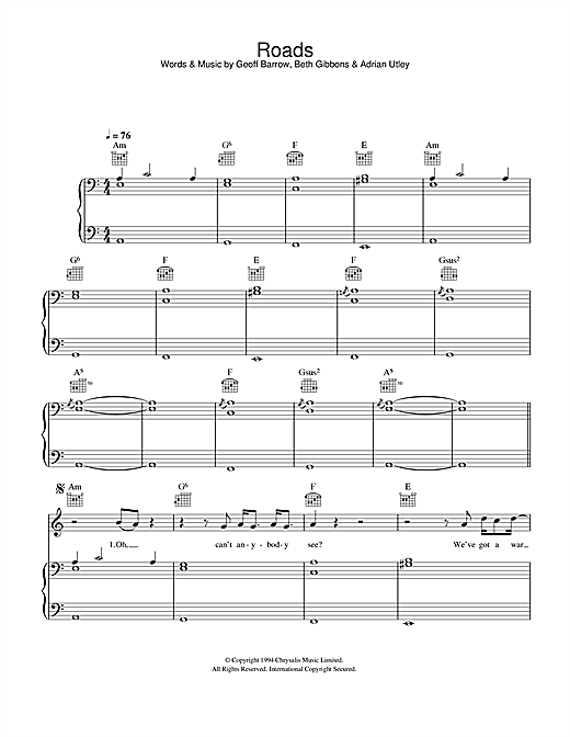 Portishead Roads sheet music notes and chords