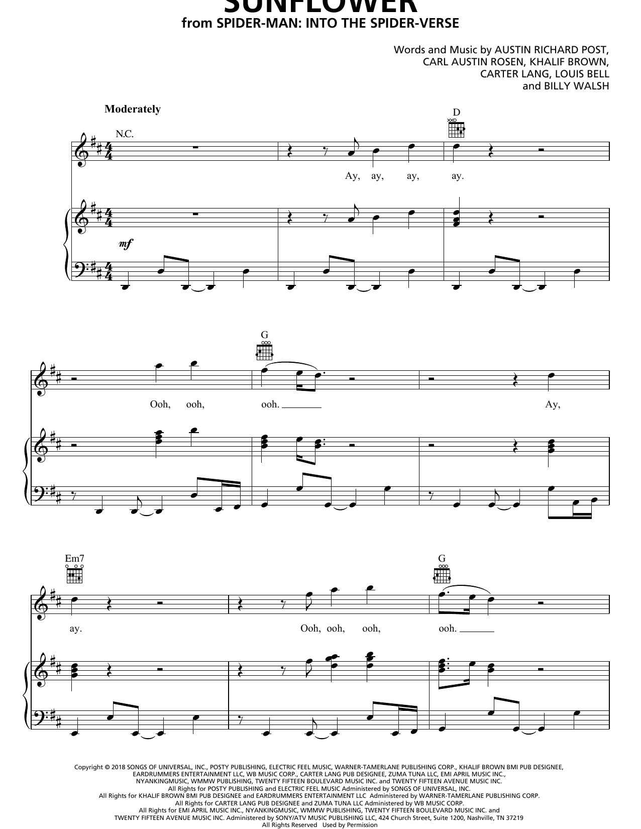 Post Malone & Swae Lee Sunflower (from Spider-Man: Into The Spider-Verse) sheet music notes and chords