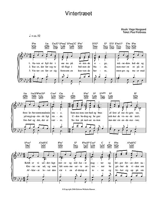 Poul Feldvoss Vintertræet sheet music notes and chords. Download Printable PDF.