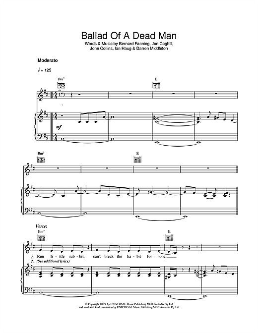 Powderfinger Ballad Of A Dead Man sheet music notes and chords