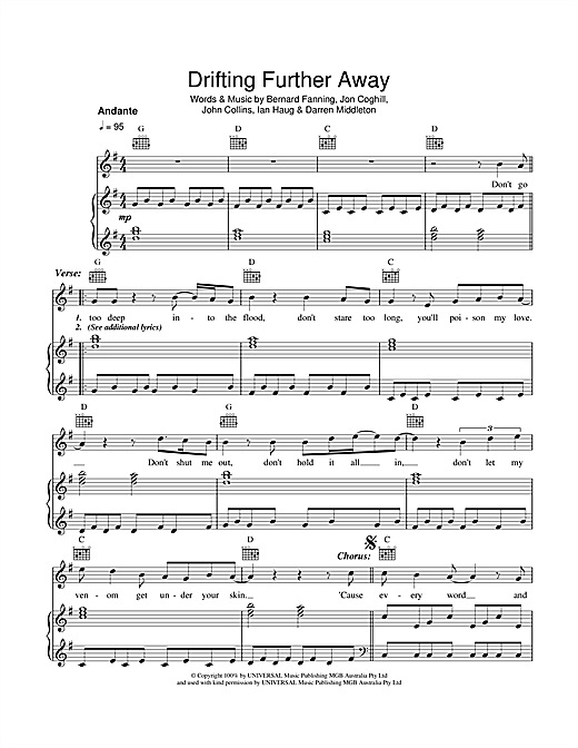 Powderfinger Drifting Further Away sheet music notes and chords. Download Printable PDF.