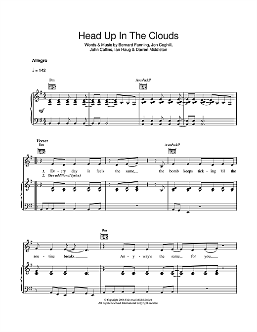 Powderfinger Head Up In The Clouds sheet music notes and chords. Download Printable PDF.