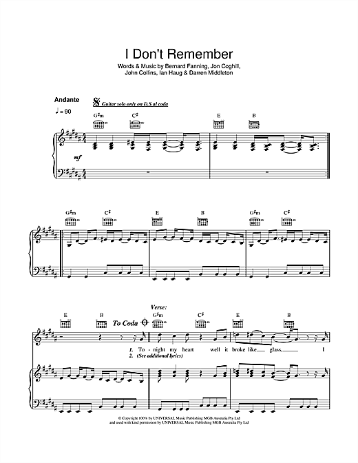 Powderfinger I Don't Remember sheet music notes and chords