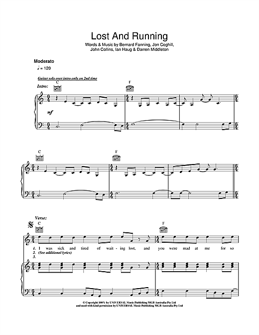 Powderfinger Lost And Running sheet music notes and chords
