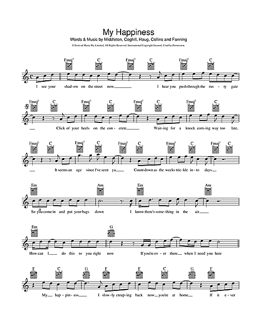 Powderfinger 'My Happiness' Sheet Music Notes, Chords | Download Printable  Piano, Vocal & Guitar (Right-Hand Melody) - SKU: 185881