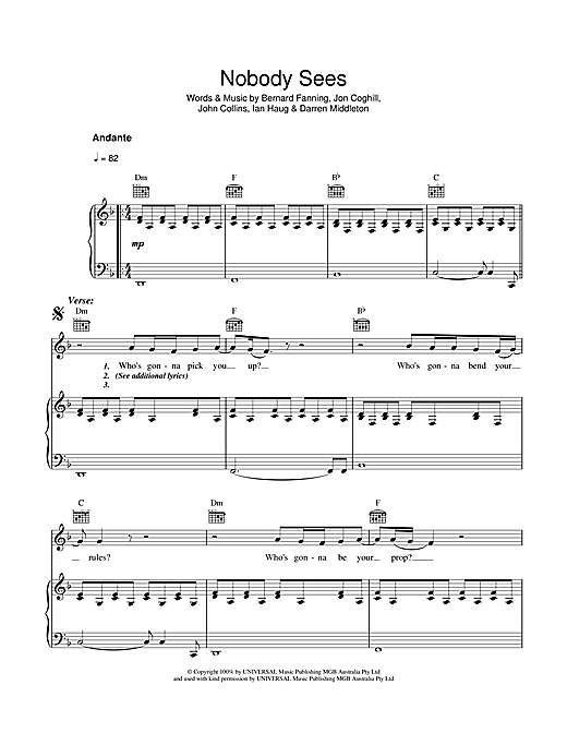 Powderfinger Nobody Sees sheet music notes and chords. Download Printable PDF.