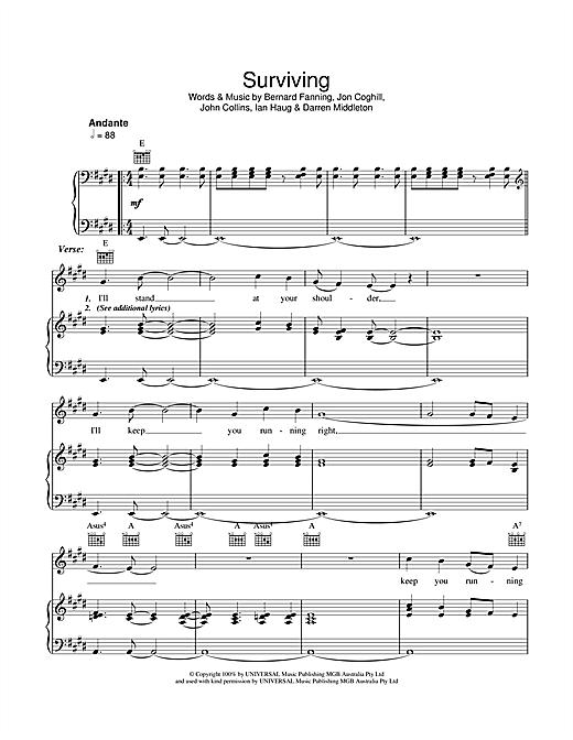 Powderfinger Surviving sheet music notes and chords. Download Printable PDF.