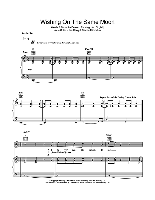 Powderfinger Wishing On The Same Moon sheet music notes and chords. Download Printable PDF.