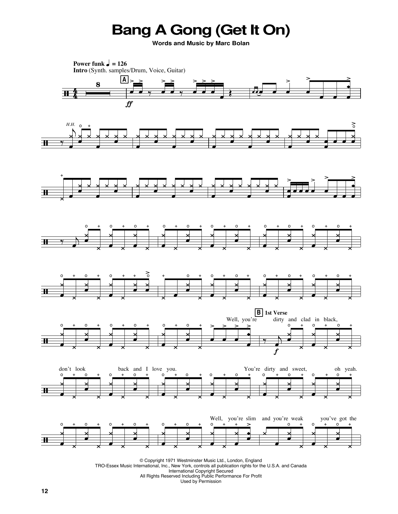 Power Station Bang A Gong (Get It On) sheet music notes and chords. Download Printable PDF.