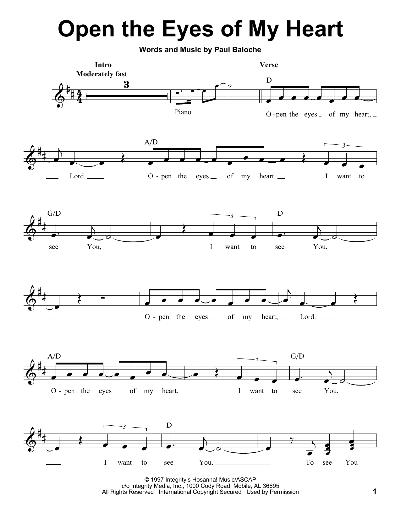 Praise Band Open The Eyes Of My Heart Sheet Music Notes, Chords   Download  Printable Pro Vocal PDF Score   SKU 15