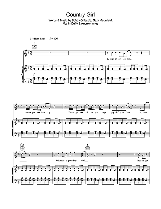 Primal Scream Country Girl sheet music notes and chords. Download Printable PDF.