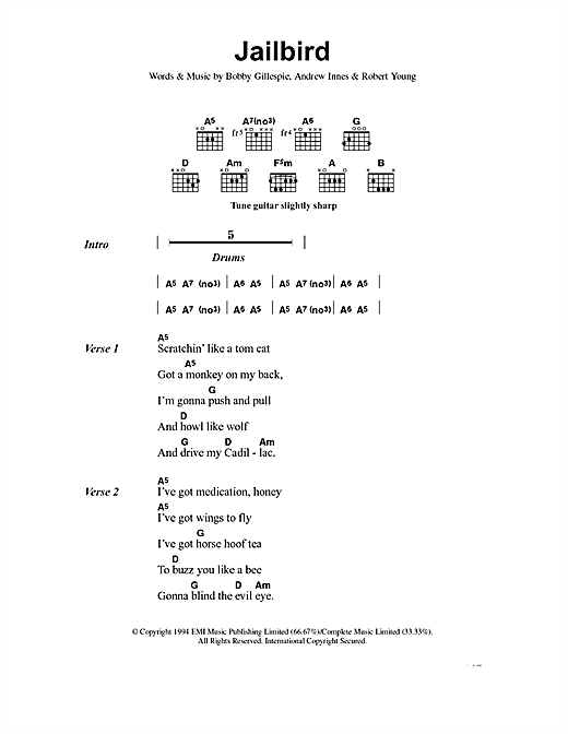 Primal Scream Jailbird sheet music notes and chords