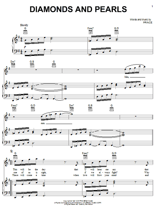 Prince 'Diamonds And Pearls' Sheet Music Notes, Chords | Download Printable  Easy Guitar Tab - SKU: 84335