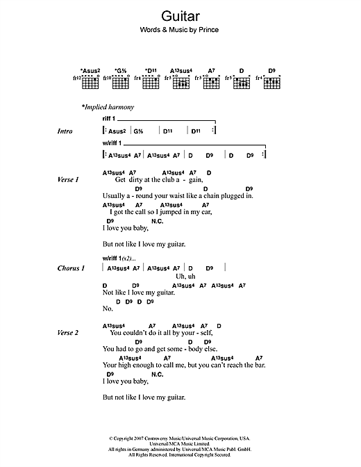 Prince Guitar sheet music notes and chords. Download Printable PDF.