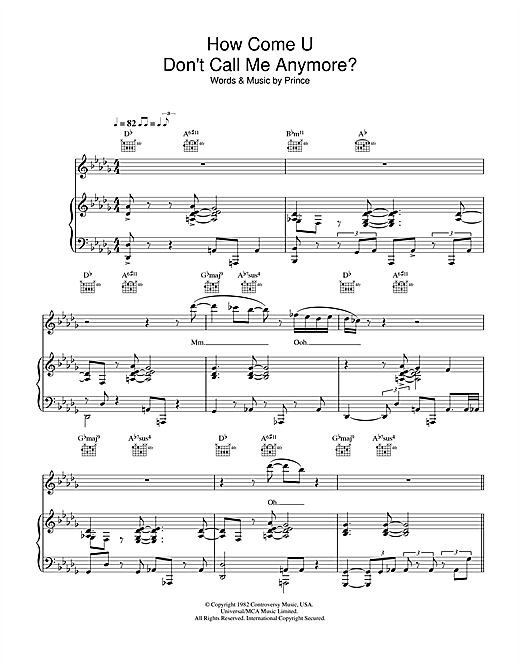 Prince How Come U Don't Call Me Anymore sheet music notes and chords. Download Printable PDF.