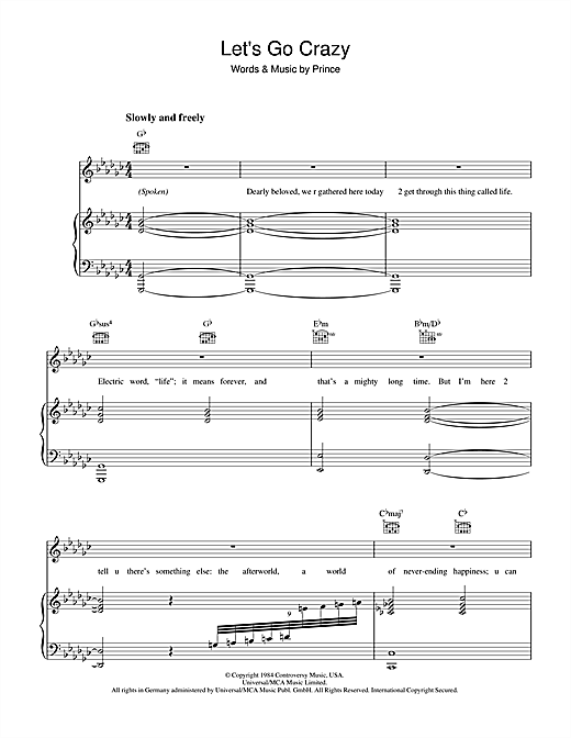 Prince Let's Go Crazy sheet music notes and chords. Download Printable PDF.