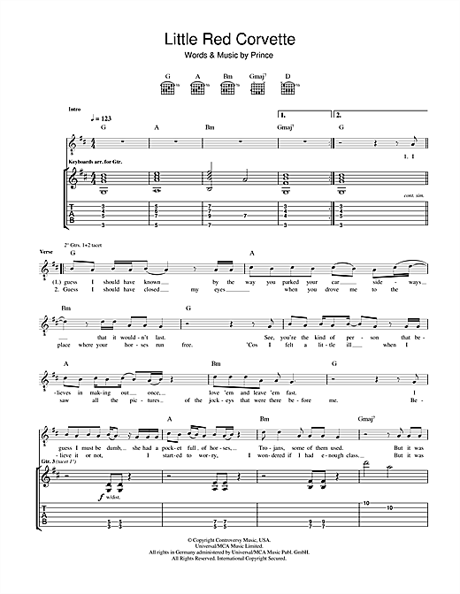 Prince Little Red Corvette sheet music notes and chords. Download Printable PDF.
