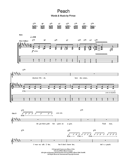 Prince Peach sheet music notes and chords