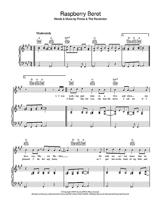 Prince Raspberry Beret sheet music notes and chords. Download Printable PDF.