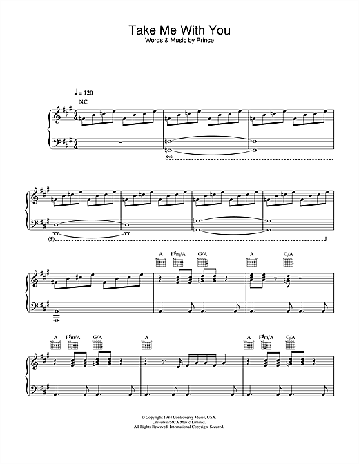 Prince Take Me With U sheet music notes and chords. Download Printable PDF.