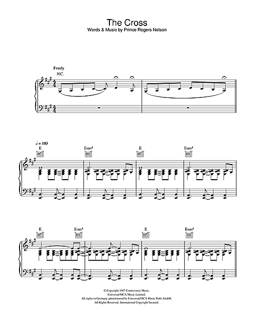 Prince The Cross sheet music notes and chords. Download Printable PDF.