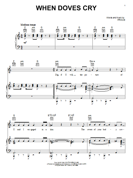 Prince When Doves Cry sheet music notes and chords
