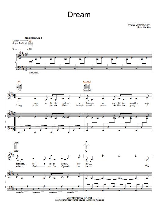 Priscilla Ahn Dream sheet music notes and chords. Download Printable PDF.