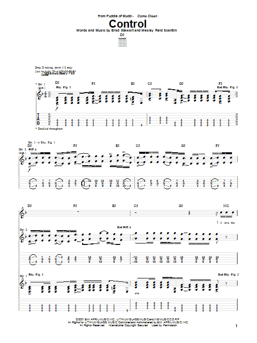 Puddle Of Mudd Control sheet music notes and chords. Download Printable PDF.