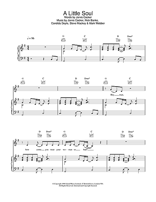 Pulp A Little Soul sheet music notes and chords