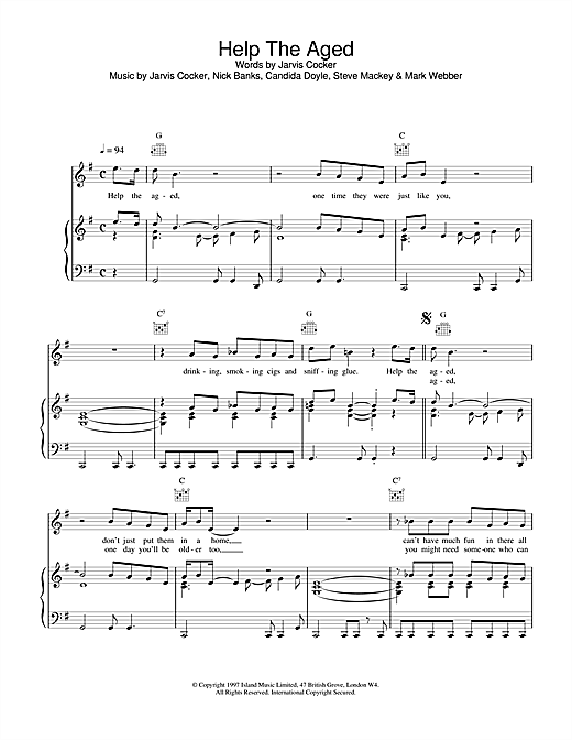 Pulp Help The Aged sheet music notes and chords. Download Printable PDF.