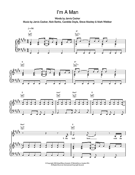 Pulp I'm A Man sheet music notes and chords. Download Printable PDF.