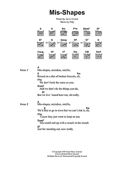 Pulp Mis-shapes sheet music notes and chords