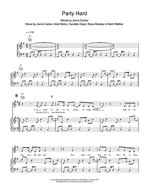 Pulp Party Hard sheet music notes and chords
