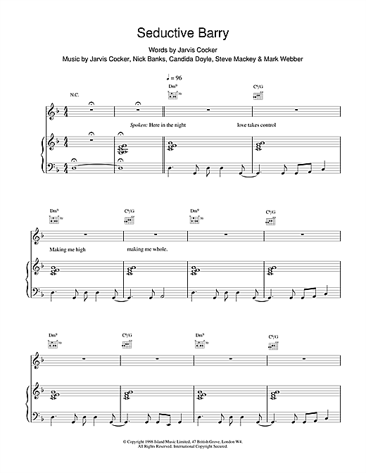 Pulp Seductive Barry sheet music notes and chords