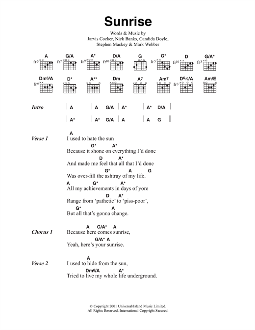 Pulp Sunrise sheet music notes and chords. Download Printable PDF.