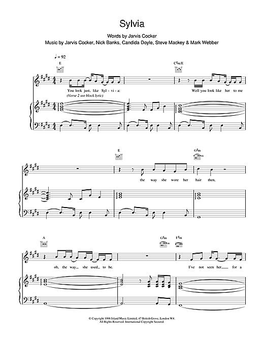 Pulp Sylvia sheet music notes and chords. Download Printable PDF.