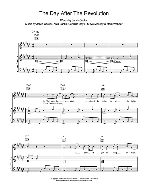 Pulp The Day After The Revolution sheet music notes and chords. Download Printable PDF.
