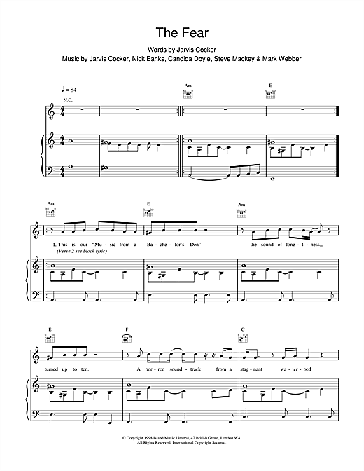 Pulp The Fear sheet music notes and chords