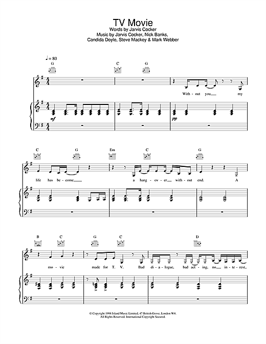 Pulp TV Movie sheet music notes and chords