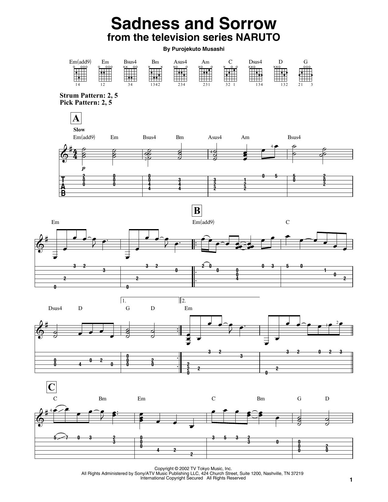 Purojekuto Musashi Sadness And Sorrow From Naruto Sheet Music Pdf Notes Chords Japanese Score Easy Guitar Tab Download Printable Sku 433145